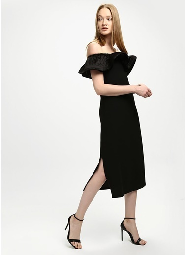Beymen Collection Kayık Yaka Midi Boy Krep Elbise Siyah